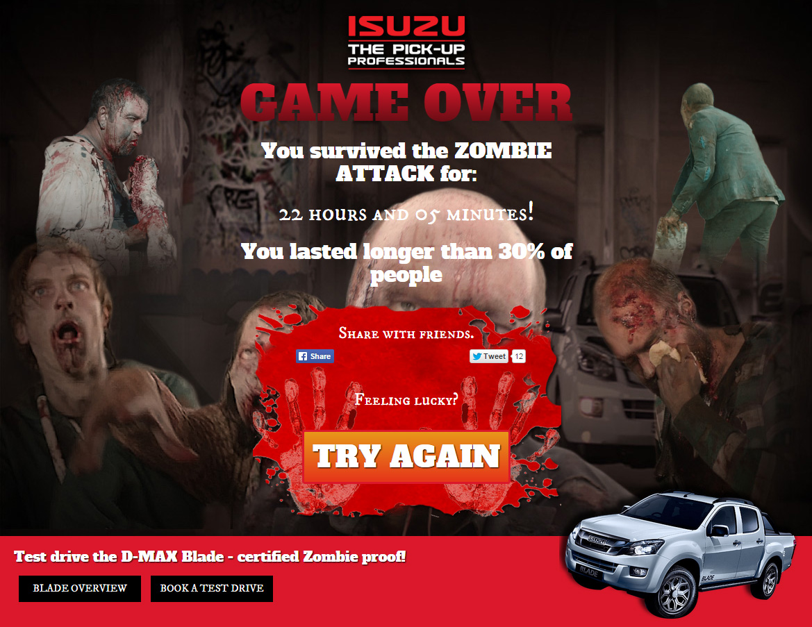 isuzu could you escape a zombie attack ogm creative adam marshall freelance design and. Black Bedroom Furniture Sets. Home Design Ideas
